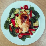 Over-stuffed chicken breast and salad
